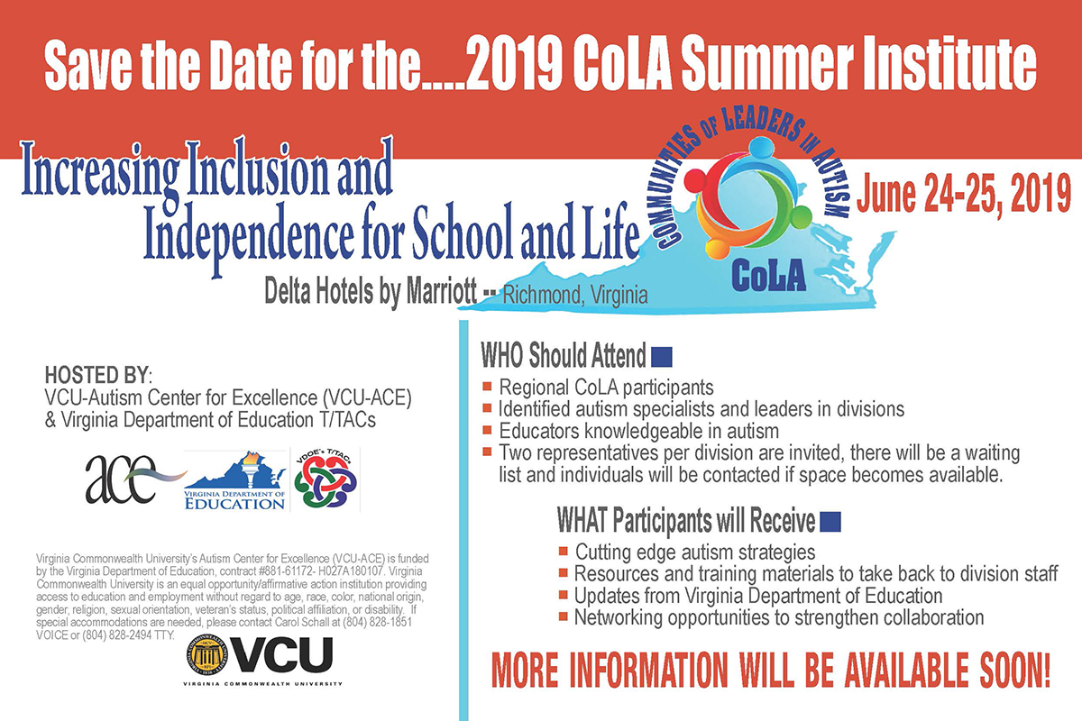 Save the date graphic for the ACE Summer Cola Conference held June 24-25, 2019