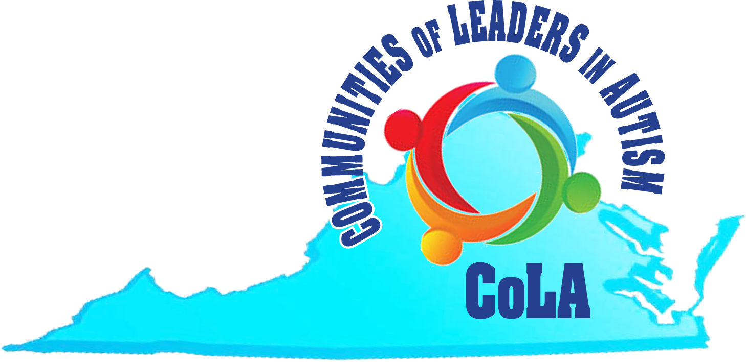 Logo with Communities of Leaders in Autism written on top of a map of Virginia
